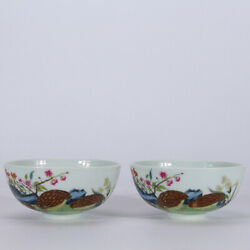 5.1 Old Yongzheng Marked Famille Rose Porcelain Hand Painting Quail Flower Bowl