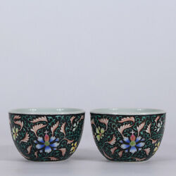 3 Old Yongzheng Marked Black Glaze Famille Rose Porcelain Painting Flower Cup