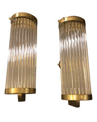 Set Of Two Mid-century Modern Brass And Glass Italian Wall Sconces, About 1970