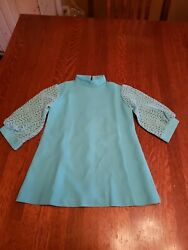 vintage girls teal dress 1950s 1960s   Girls Toddler no tags approximate size 6? $18.00