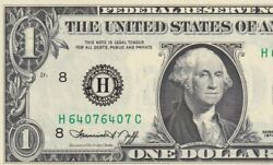 H64076407c Excellent Condition Perfect Double Repeater One Dollar Note Rare Find