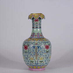 13.2 Old Chinese Qianlong Marked Famille Rose Porcelain Painting Flower Vase