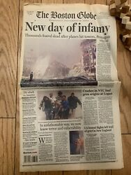 The Boston Globe Newspaper 9/11 Dated September 12th 2001 New Day Of Infamy