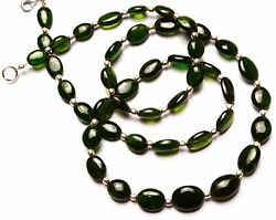 Super Top Quality Russian Gem Chrome Diopside Smooth Nugget Beads Necklace 20