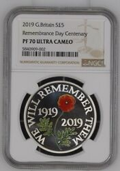 2019 Great Britain Silver Proof Andpound5 Remembrance Day Centenary Pf70uc
