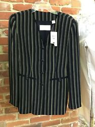 Dana Buchman Gold Label Nwt 325 Tailored Fitted Long Blazer 4 Navy/gold Stripe