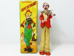 Tps 1950s Tinplate Mechanical Happy The Violinist Clown 1st Ver. With Box Japan