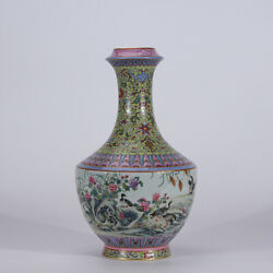 12.2 Old Yongzheng Marked Famille Rose Porcelain Hand Painting Flower Bird Vase