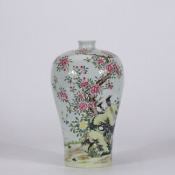 9.8 Old Yongzheng Marked Famille Rose Porcelain Painting Magpie Flower Vase