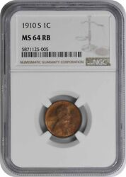 1910-s Lincoln Cent Ms64rb Ngc
