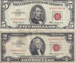 1963 Two And Five Dollar Red Seal Note Lotgood Condition One Low Serial