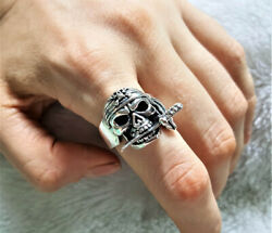 Pirate Skull 925 Sterling Silver Ring Pirate With Knife Exclusive Design Biker R