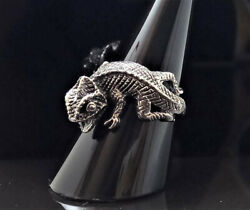 STERLING SILVER 925 Chameleon Exclusive Design Lizard Reptile Animal Ring