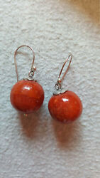 925 Sterling Silver Balinese Natural Genuine Red Coral Earrings