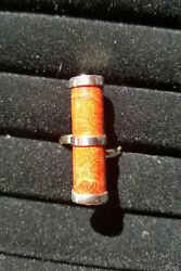 925 Sterling Silver Natural Coral Ring Size 7.5 (sizable)