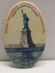 Antique Celluloid Advertising Pocket Mirror Statue Liberty Dixie Tailoring Co.