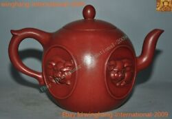 Old Chinese Yixing Zisha Pottery Carved Animal Pig Statue Teapot Teacup Tea Set