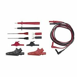 Electrical Dmm Test Lead Kit, W/ Rt-angle Plugs, Cat Iii 1000v, 12 Pc W/ Pouch