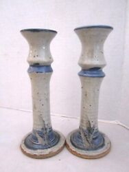 Ceramic Studio Candle Holders Lot Of 2. Blue And Grey. 7.5 Artist Signed.