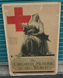 1918 Original American National Red Cross Greatest Mother In The World Poster