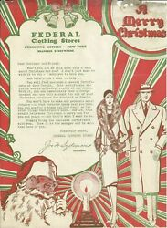 Old Vintage Federal Clothing Stores New York Ny 1929 Letter Letterhead