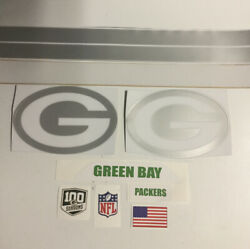 Green Bay Packers Ice F/s Football Helmet Decals Full Size W/100 Seasons Decal