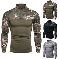 Menand039s Stand Collar Long Sleeve Camouflage Fitness Outdoor T Shirt Slim Fit New B