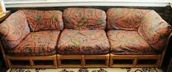 Vintage Bamboo Rattan Sectional Sofa 3 Pieces