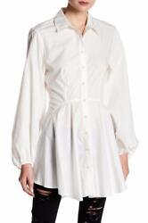 Free People Ms Size Large Ivory White Button Front Fit N Flair Tunic Blouse