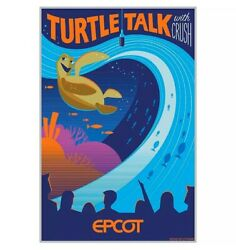 Epcot Turtle Talk Crush Poster Living Waters Nemo Serigraph Limited Le 8/ 100