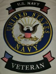 Usnavy Veteran 10 Center Back Patch With Upper And Lower Rockers 3 Piece Set