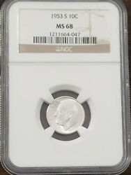 1953 S Roosevelt Dime Ngc Ms68 10c 1 Us Coin Lot 8702b