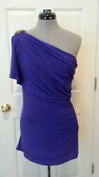 BADGLEY MISCHKA Collection Blue Ruched Women's Mini Cocktail Dress Size 4