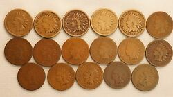 1859,60,61,62,63,64,65,66,68,69,71,73,78,79,80,81,82 Indian Head Cent Coins- 1c