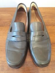 Slideandswing Mens Leather Penny Loafers Dance Shoes Dark Olive Green Sz 12 Spain