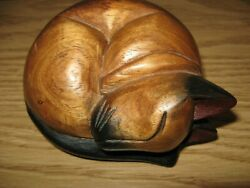 Sleeping Siamese Cat - Figurine - Statue - Carved Wood - From Thailand - Nice