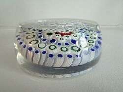 Antique Old English Concentric Millefiori Art Glass Paperweight