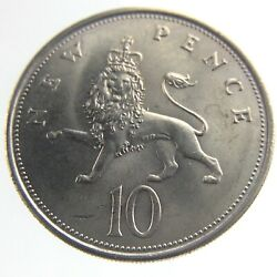 1968 Ten New Pence England United Kingdom British Circulated Coin 10 Q108