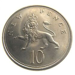 1968 Ten New Pence England United Kingdom British Circulated Coin 10 Q109