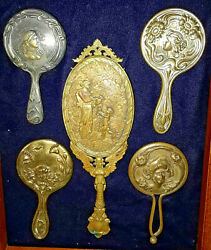 Shadow Boxed 1900-1910 Nouveau Child Hand Mirrors