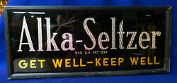 S17 Early Framed Alka Seltzer Drug Store Sign Glass Foil Accents Vg Condition