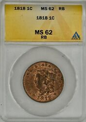 1818 Coronet Head Large Cent 1c Anacs Ms 62 Rb Almost Red L@@k