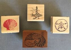Nautical Theme Rubber Stamps - Seashells, Sand Dollar, Lighthouse - Lot Of 4