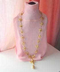 Vtg Unisex Unusual Design Massive Knotted Gold Plated Chain Links Rare Necklace