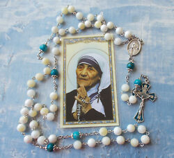 St Mother Teresa Of Calcutta Rosarymother Of Pearl Shell Beadsitalyw Card