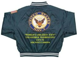Uss George Washington Cvn-73 Carriernavy Deluxe Embroidered 2-sided Satin Jacket