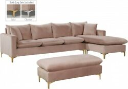 Traditional Look Gold Chrome Legs Pink Finish Sectional Sofa Set Home Furniture