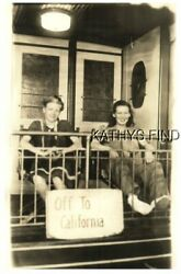 Real Photo Postcard D+3206 Novelty-two Young Women On Caboose Of Train Off To Ca