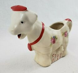 Vintage 1950s Porcelain Cow Creamer White With Red Trim And Pink Flowers 5 Tall