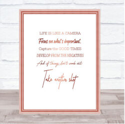 Develop From Negatives Quote Print Poster Rose Gold Wall Art